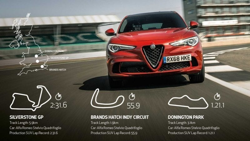 Alfa Romeo Stelvio Quadrifoglio a stabilit timpi de referință în segmentul SUV pe circuitele britanice de la Silverstone, Brands Hatch și Donington Park